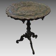 Antique Swiss Black Forest Carved Wood Pedestal Table