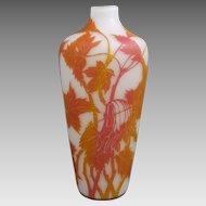 Beckmann & Weis Acid Cut Cameo Rainbow Glass Vase