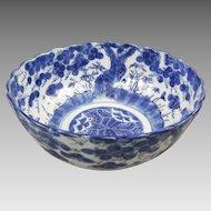 Antique Japanese Porcelain Blue & White Bowl Prunis Blossom