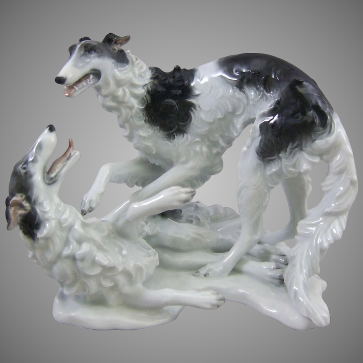 Rosenthal Porcelain Borzoi Russian Wolfhounds Dogs Playing Model 1599