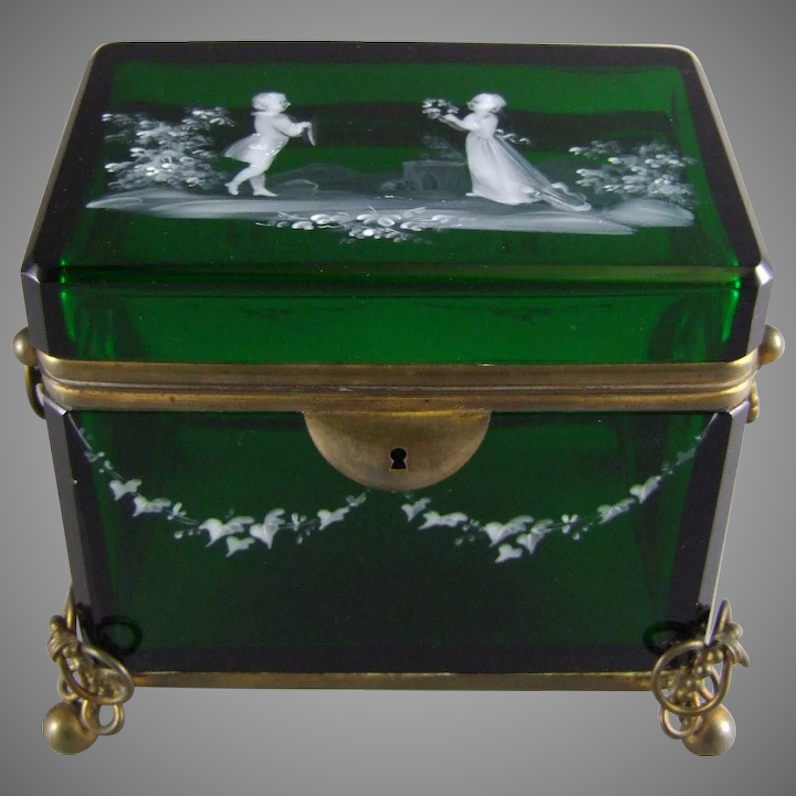 Moser Bohemian Glass Emerald Green Glass Jewelry Casket