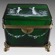 Moser Bohemian Glass Emerald Green Glass Jewelry Casket