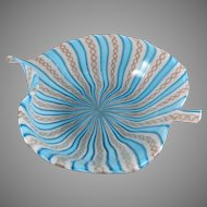 Venetian Murano Italy Latticino Ribbon Glass Leaf Form Bowl