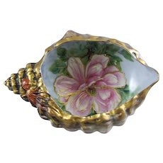 Hand Painted Bisque Porcelain Sea Shell Dish