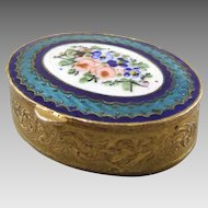 French Gilt Metal Enamel & Guilloche Hinged Cosmetic Box