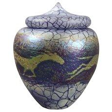 Phoenix Studios Carl Radke Art Glass Lidded Jar Running Horses