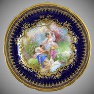 Ambrosius Lamm Dresden Germany Hand Painted Porcelain Cabinet Plate with Hans Zatzka Decoration - Krieg (War)