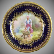 Ambrosius Lamm Dresden Germany Hand Painted Porcelain Cabinet Plate with Hans Zatzka Decoration - Leibe im Galopp