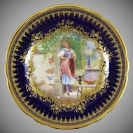 Ambrosius Lamm Dresden Germany Hand Painted Porcelain Cabinet Plate with Hans Zatzka Decoration - Fiore !