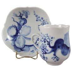 Meissen Porcelain Blue Orchid Demitasse Cup & Saucer Set