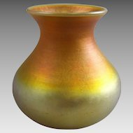 Quezal Gold Iridescent American Art Glass Vase
