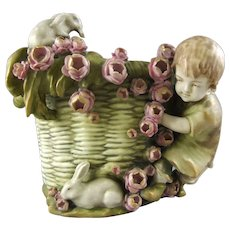Amphora Works Turn Tepliz Pottery Basket with Child and Rabbits