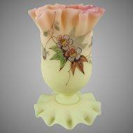 Thomas Webb & Sons Decorated Burmese Glass Posy Vase