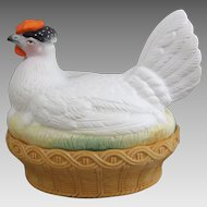 Staffordshire Bisque Porcelain Chicken Hen on Nest Tureen