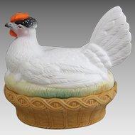 Staffordshire Bisque Porcelain Chicken Hen on Nest Tureen