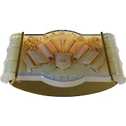 Sabino of France Patinated Opalescent Glass Art Deco Rocker Ink Blotter