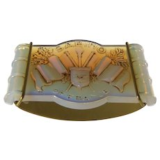 Sabino of France Patinated Opalescent Glass Art Deco Rocker Ink Blotter