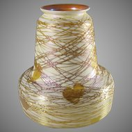 Quezal Threaded Heart & Vine Art Glass Shade