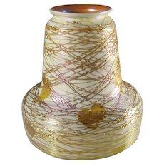Quezal Threaded Heart & Vine Art Glass Shade