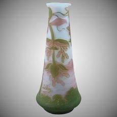 DeVez Aid Cut French Cameo Glass Vase Scenic Castle