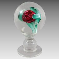 Vintage Murano Glass Tulip Bloom Pedestal Crystal Encasement Paperweight