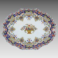 Antique Rouen French Faience Desvres Fourmaintraux Platter