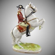 Dresden Porcelain Figure of a Prussian Officer on Rearing Stallion Horse