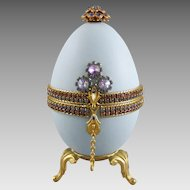 Rhinestone Jewel Decorated Egg Jewelry Casket Hinged Dresser Box