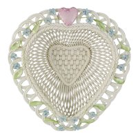 Belleek Parian Woven Porcelain Limited Edition Love Heart Basket 3467 PRICE REDUCED