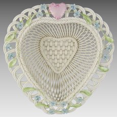 Belleek Parian Woven Porcelain Limited Edition Love Heart Basket 3467