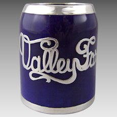 Silver Overlay on Porcelain Valley Forge Souvenir Stein
