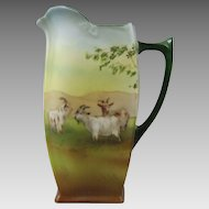 Royal Bayreuth Porcelain Pitcher Jug with Highland Goats