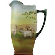 Royal Bayreuth Porcelain Pitcher Jug with Highland Goats