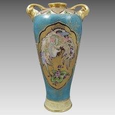Antique Porcelain Nippon Vase Phoenix Décor
