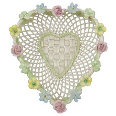 Belleek Woven Porcelain Heart Basket with Shamrock & Flowers