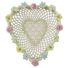 Belleek Woven Porcelain Heart Basket with Shamrock & Flowers