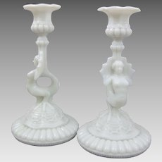 Portieux Opaline Glass Figural Sirene Mermaid Candlestick Candle Holders