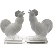 Le Cog Crowing Rooster Molded Glass Chicken Bookends