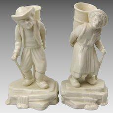 Belleek Parian Porcelain Belgian Hawkers Figural Spill Mantle Vases