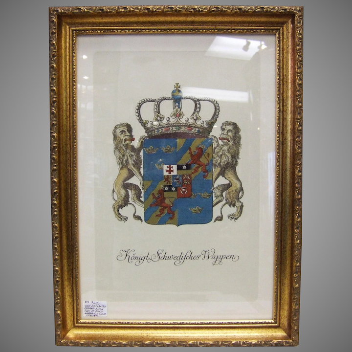 Terrific Antique Engraving Royal Coat Of Arms Of Sweden Download Free Architecture Designs Scobabritishbridgeorg