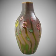 Italian Murano Glass Murrine Flowers Art Glass Vase