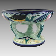 Art Deco Ceramic Czech Amphora Pottery Pedestal Bowl with Enamel Herons