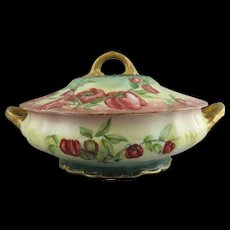 Theodore Haviland Limoges Dish with Hand Painted Red Bell Peppers
