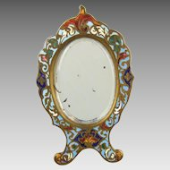 Antique Gilt Bronze & French Enamel Champlevé Easel Vanity Mirror
