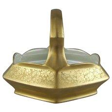 T&V Tressemane & Vogt Limoges Textured Gold Enamel Handled Basket Pickard Decoration