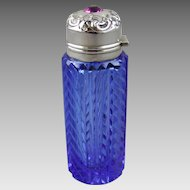 Perfume Bottle Lebolt & Co. Cobalt Blue Cut Glass Repousse Sterling Silver and Jewel