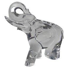 Val St. Lambert Crystal Elephant Sculpture