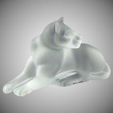 Lalique Crystal Sculpture 11662 Simba Recumbent Lioness