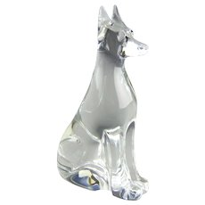 Baccarat Crystal France Doberman Pinscher Dog Glass Sculpture