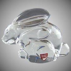 Orrefors Crystal Sweden Bunny Rabbit Mother & Baby Olle Alberius Designer